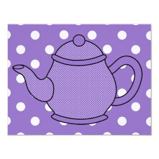 Tea party do bule V3 das bolinhas Convites Personalizados