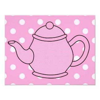 Tea party do bule V4 das bolinhas Convite
