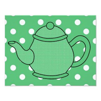 Tea party do bule V5 das bolinhas Convites Personalizado