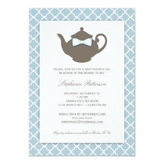 Tea party doce do chá de fraldas do bule do azul | convites personalizados