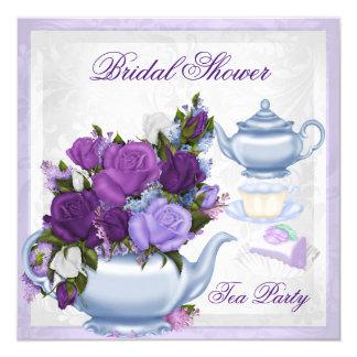 Tea party floral azul roxo do chá de panela convite quadrado 13.35 x 13.35cm