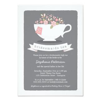 Tea party floral das damas de honra do rosa doce convite 12.7 x 17.78cm
