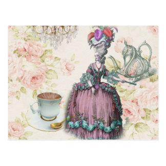 Tea party floral feminino de Marie Antoinette Cartão Postal