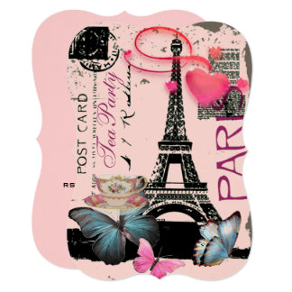 Tea party nupcial da torre Eiffel cor-de-rosa Convite 12.7 X 17.78cm