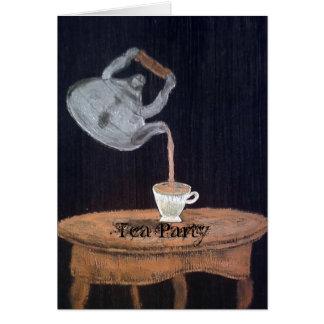 Tea party suspendido do bule cartão comemorativo