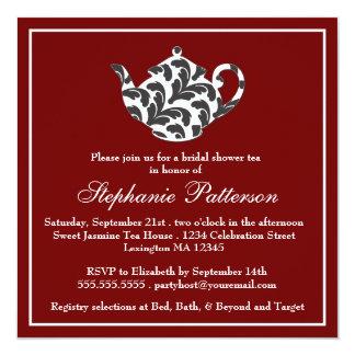 Tea party vermelho & branco chique do chá de convite quadrado 13.35 x 13.35cm