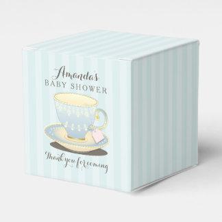 Teacup chique na caixa azul do favor do frontão do caixinha de lembrancinhas
