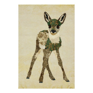Teal Floral Fawn Art Poster