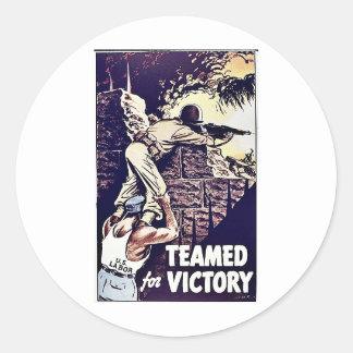 Teamed para a vitória adesivos em formato redondos