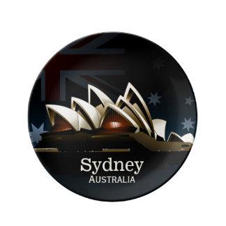 Teatro da ópera de Sydney na noite Louça De Jantar