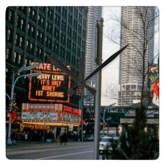 Teatro Jerry Lewis do lago state de Chicago 1967 Relógio Quadrado