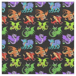 Tecido A cena do dragão caçoa delgado