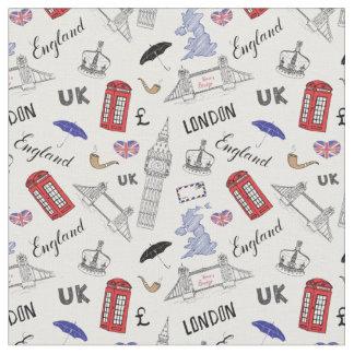 Tecido A cidade de Londres Doodles o teste padrão
