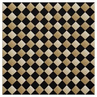 Tecido A diagonal verifica o preto/damasco DCRX do ouro