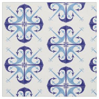 Tecido A sala do menino náutico da âncora azul do vintage