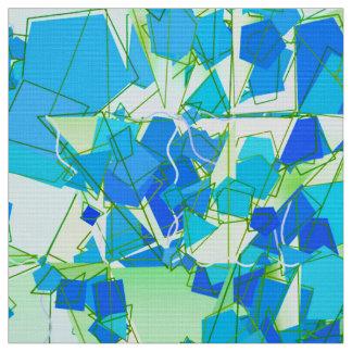 Tecido Abstrato moderno do meio século, Aqua & azul