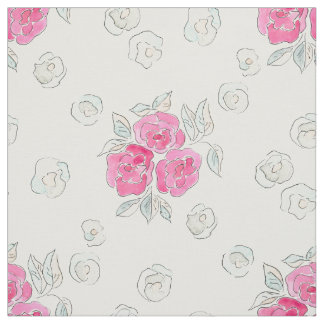 Tecido Aguarela. Rosas cor-de-rosa.