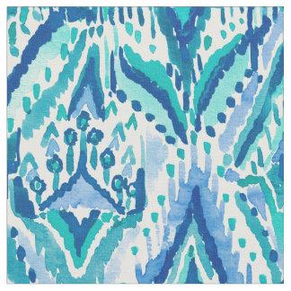 Tecido Aguarela tribal da franja de Ikat de água-marinha