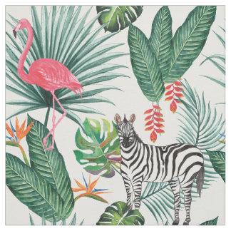 Tecido Aguarela tropical da folha da zebra moderna do