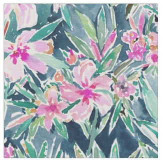 Tecido Aguarela tropical do OLEANDER LUXÚRIA floral