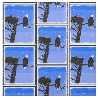 Tecido Águia americana no inverno - arte original dos