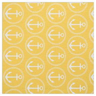 Tecido Âncoras e corda brancas náuticas no amarelo do por