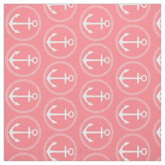 Tecido Âncoras e corda brancas náuticas no rosa coral