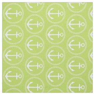 Tecido Âncoras e corda brancas náuticas no verde em folha