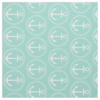 Tecido Âncoras e corda brancas no Aqua legal