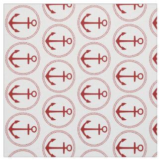 Tecido Âncoras e corda vermelhas náuticas no branco