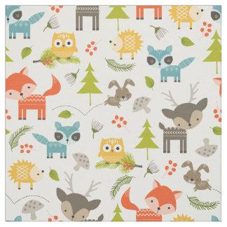 Tecido Animais bonitos da floresta do berçário