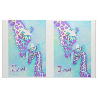 Tecido Aqua e parte superior roxa da edredão do girafa