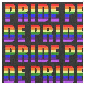 Tecido Arte do texto do orgulho do arco-íris na cor preta