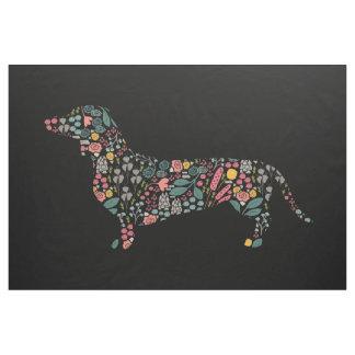 Tecido Arte floral da aguarela do teste padrão do cão do