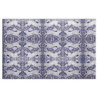 Tecido azul & branco de Dedham do coelho do