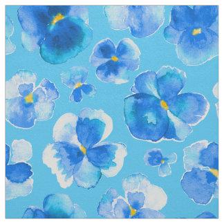 Tecido azul da arte da flor da aguarela dos