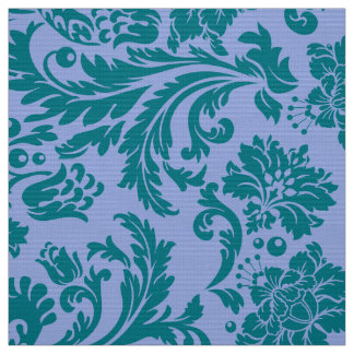 Tecido Azul de pó e damascos florais azul esverdeado
