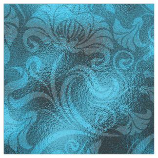 Tecido Azul de turquesa floral ID461 do Shimmer do