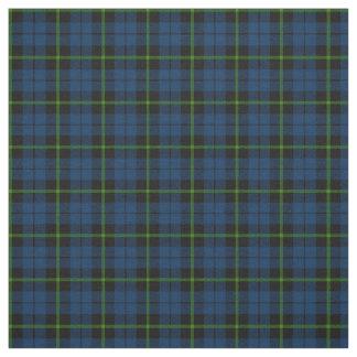 Tecido azul escuro com impressão verde da xadrez da tira
