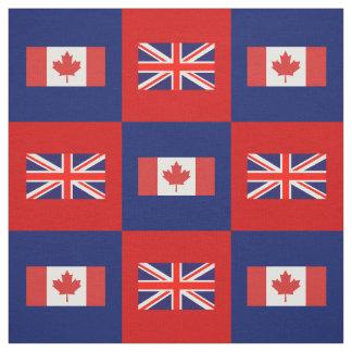 Tecido Bandeira BRITÂNICA, bandeira de Canadá no vermelho