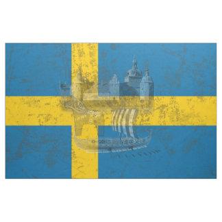 Tecido Bandeira e símbolos da suecia ID159