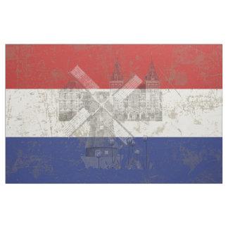 Tecido Bandeira e símbolos dos Países Baixos V2 ID151