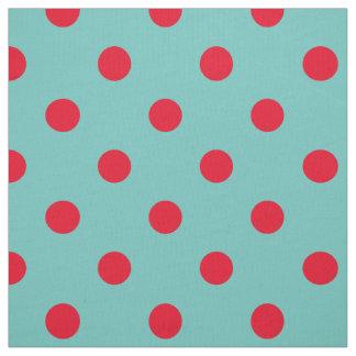 Tecido Bolinhas vermelhas brilhantes na cerceta clara