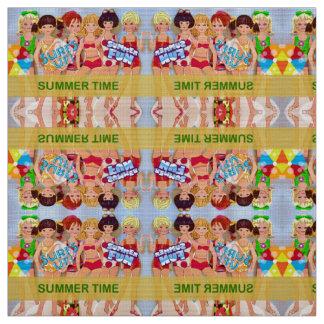 Tecido Bonecas de papel das horas de verão