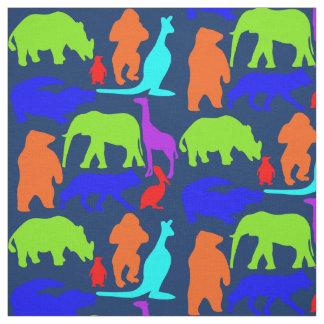 Tecido Bonito brilhante colorido dos animais selvagens