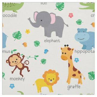 Tecido bonito do berçário dos animais do safari