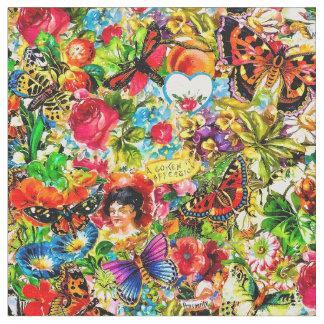 Tecido Borboleta colorida do jardim do vintage floral