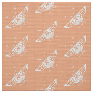 Tecido Borboleta estilizado de Deco, pêssego Pastel