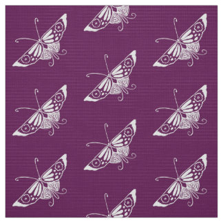 Tecido Borboleta estilizado de Deco, roxo da beringela
