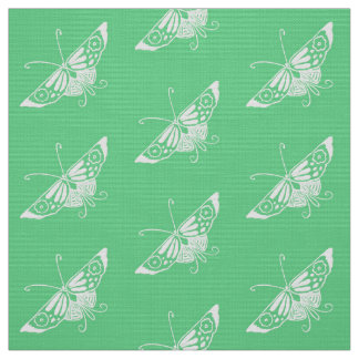 Tecido Borboleta estilizado de Deco, verde da hortelã